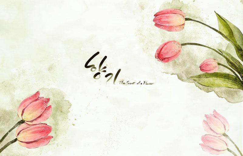 栀子花手绘画风格psd素材 马蹄莲手绘花朵封面psd素材 向日葵封面设计图片