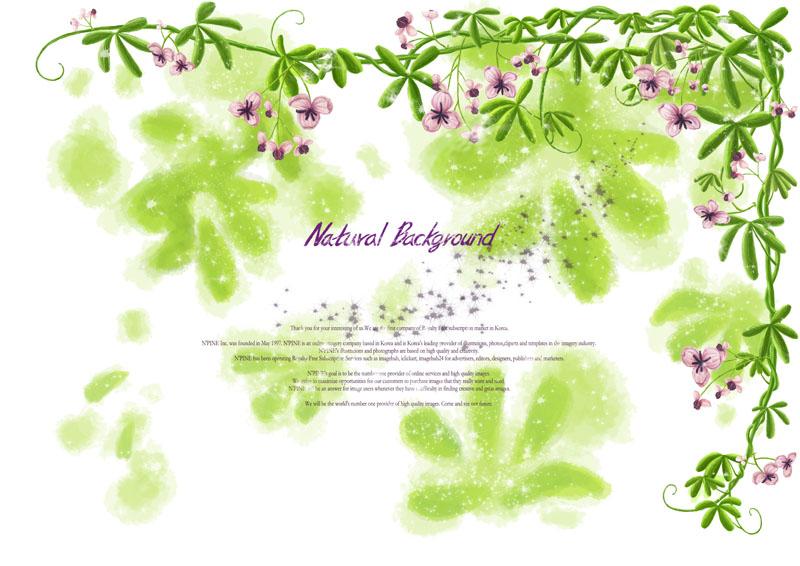 绿色植物绿色花藤底纹背景图案绘画手绘韩国