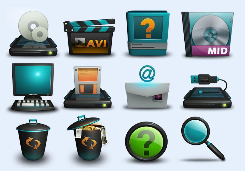 可爱电脑桌面图标下载png图标 个性手机系统png图标 黑色风格系统png