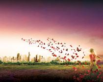 房地产梦幻海报背景设计PSD素材