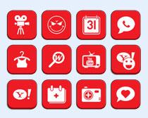 个性红色APP主题PNG图标