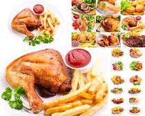 鸡腿薯条烤鱼摄影高清图片