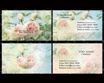 淡雅花卉名片卡片设计PSD素材