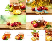蘋果與蜂蜜攝影高清圖片