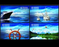 蓝色企业文化画册设计PSD素材