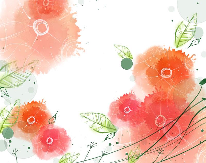 水墨印与叶子绘画psd素材