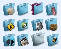 个性淡蓝色文件夹PNG图标