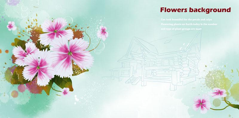 花边花角 水墨花朵 水印 墨迹 花朵 图案 封面 设计 植物 绘画 手绘