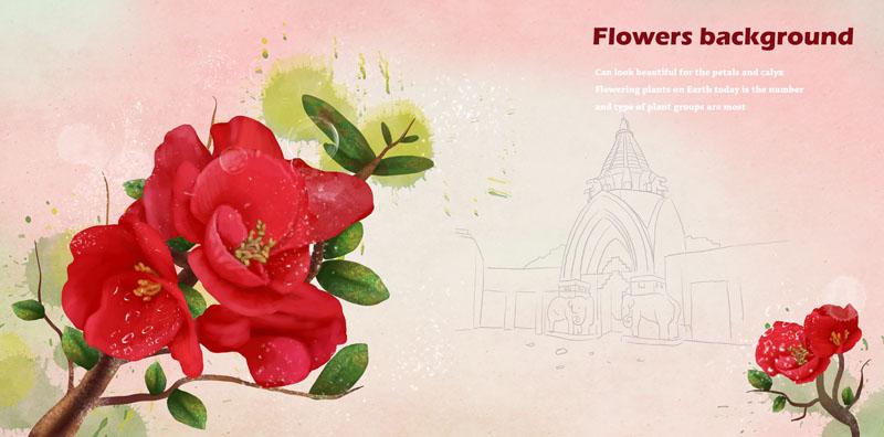 红色花朵 韩国花朵 粉色背景 封面设计 花朵图案 手绘花朵 绘画 植物