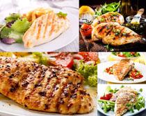 烤鱼肉块摄影高清图片
