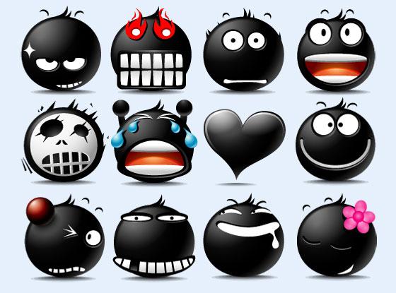 黑色大头的搞怪表情PNG图标-爱图网设计图片a黑色表情高清像图片