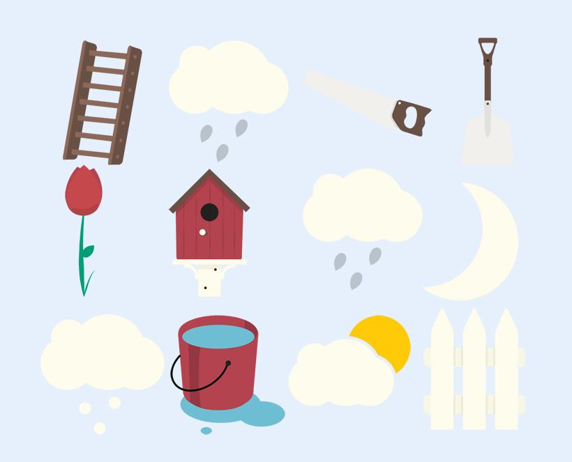 高清水桶和铁楸png图标