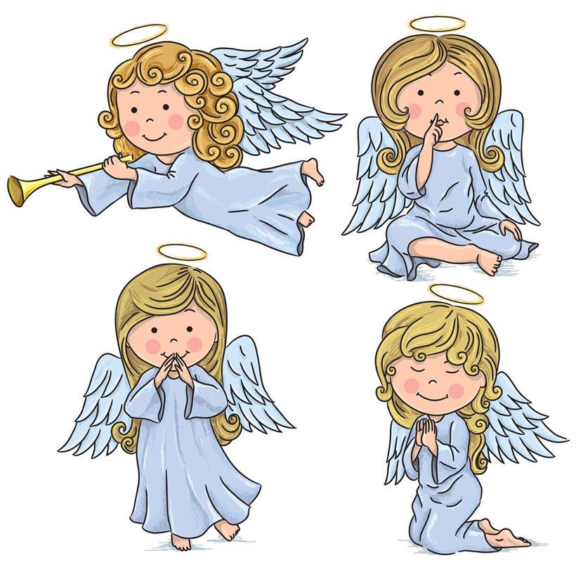 小天使卡通图案矢量素材