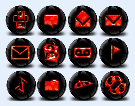 黑色背景风格手机主题png图标
