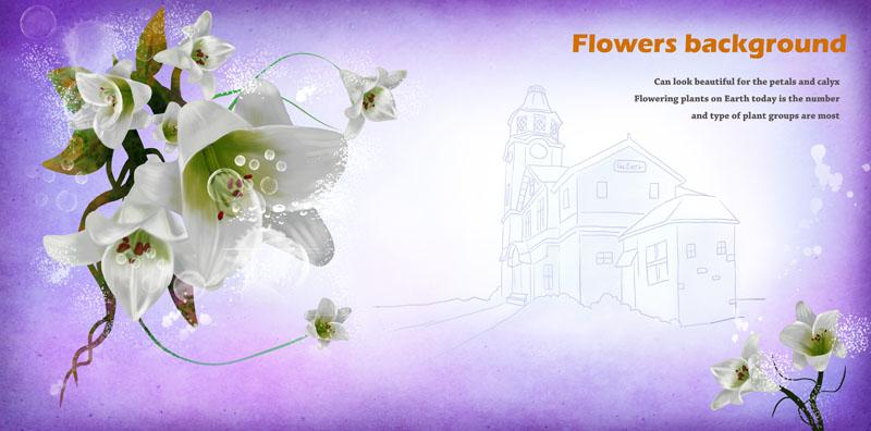 白色手绘花朵与建筑psd素材