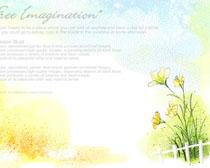 美丽贺卡绘画花朵PSD素材