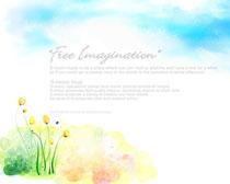 水彩画天空花朵摄影PSD素材