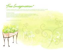 花纹花朵水彩画PSD素材