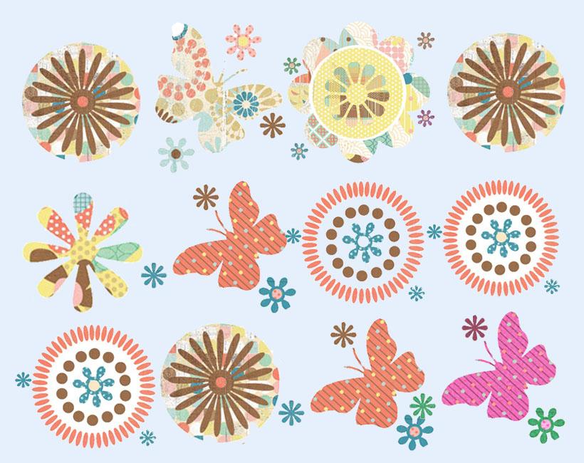 漂亮的蝴蝶花纹png图标
