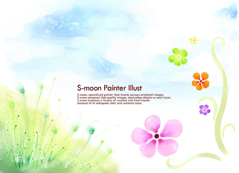 爱图首页 psd素材 自然生态 封面绘画 花朵手绘 水墨画 风景画 背景