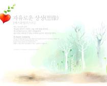 韩国秋景树木绘画PSD素材