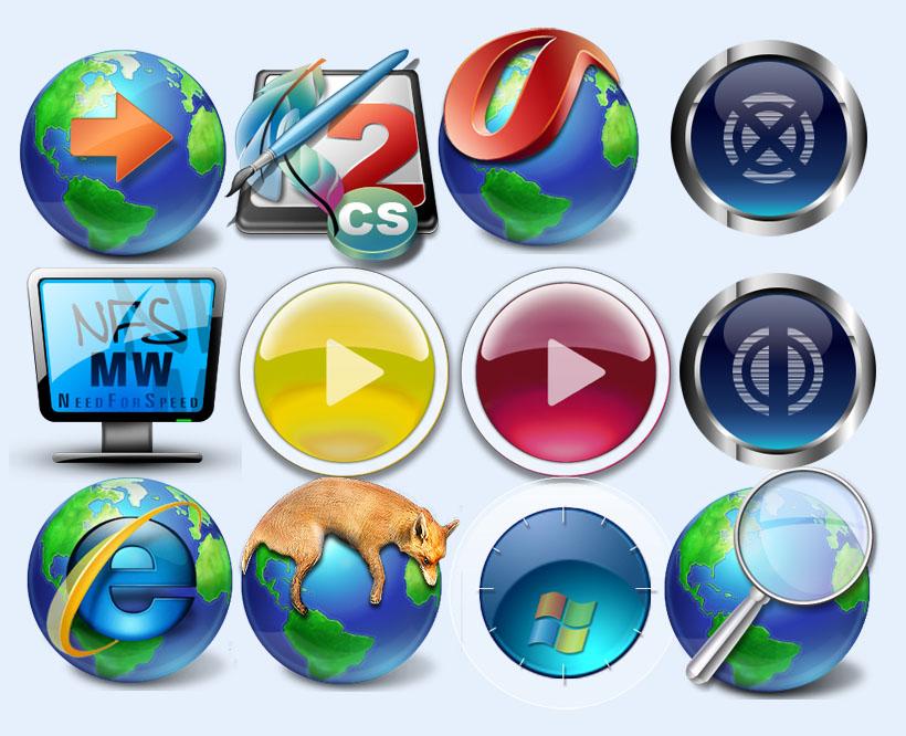 xp按钮显示器垃圾桶圆形图标放大镜浏览器播放器按钮图标下载png图标
