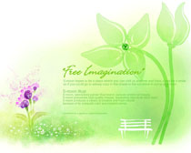 绿色水彩自然画PSD素材