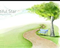 水墨花朵树木风景画PSD素材