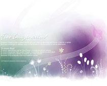 淡雅封面水彩画PSD素材