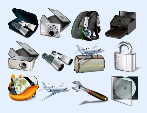 生活旅行工具 图标下载 书包 旅行包 飞机 相机 图标下载 png图标