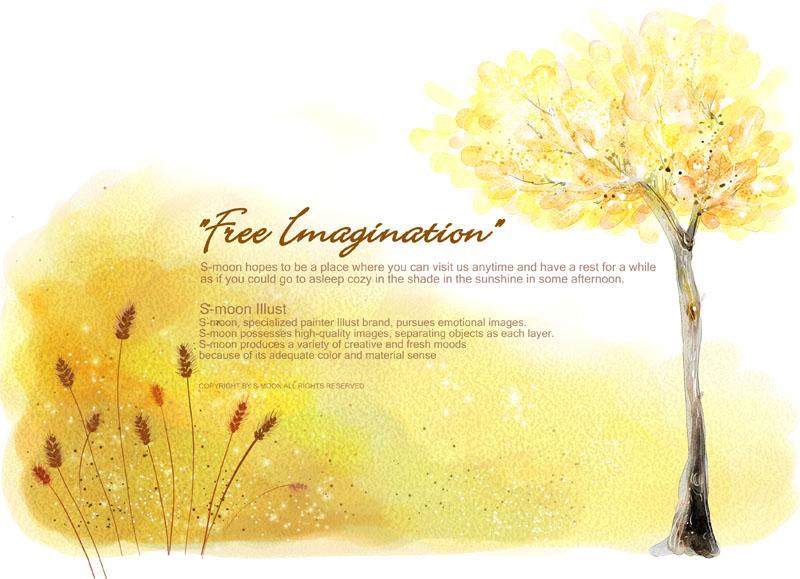 秋天背景 绘画风景 秋天水彩画 封面设计 贺卡素材 祝福语 树木 花草