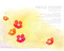 花朵底纹背景绘画PSD素材
