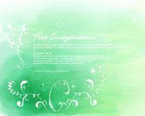 花纹绿色背景PSD素材