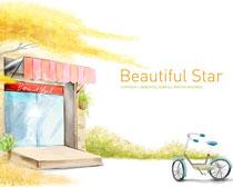 小商品店水彩画PSD素材