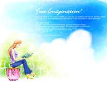 彩色卡通景色与女孩画PSD素材