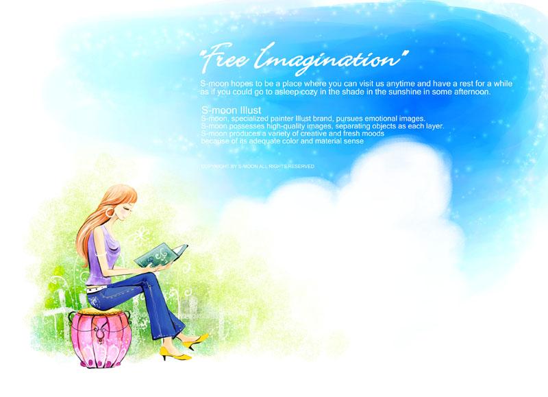 卡通女孩卡通风景蓝色天空卡通画绘画水彩