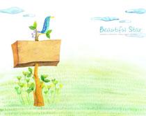 卡通自然风景绘画PSD素材