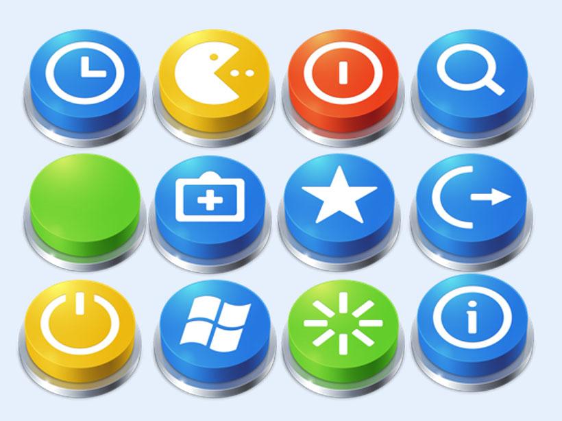 立体圆形按钮png图标图片