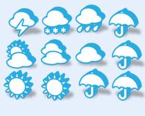 藍色的天氣預報PNG圖標