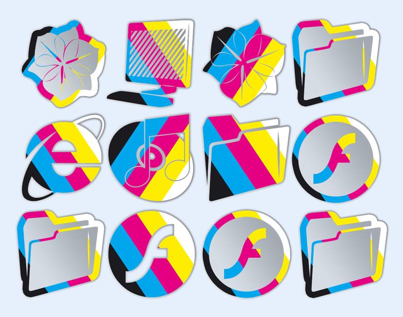 创意彩色文件夹png图标
