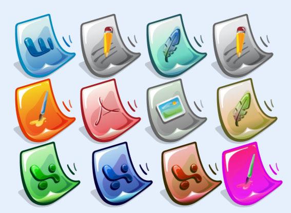 创意图标 卡通 ps文件夹 ai软件 office 可爱 文件格式 png图标
