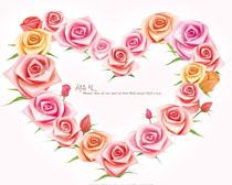 玫瑰花爱心边角PSD素材