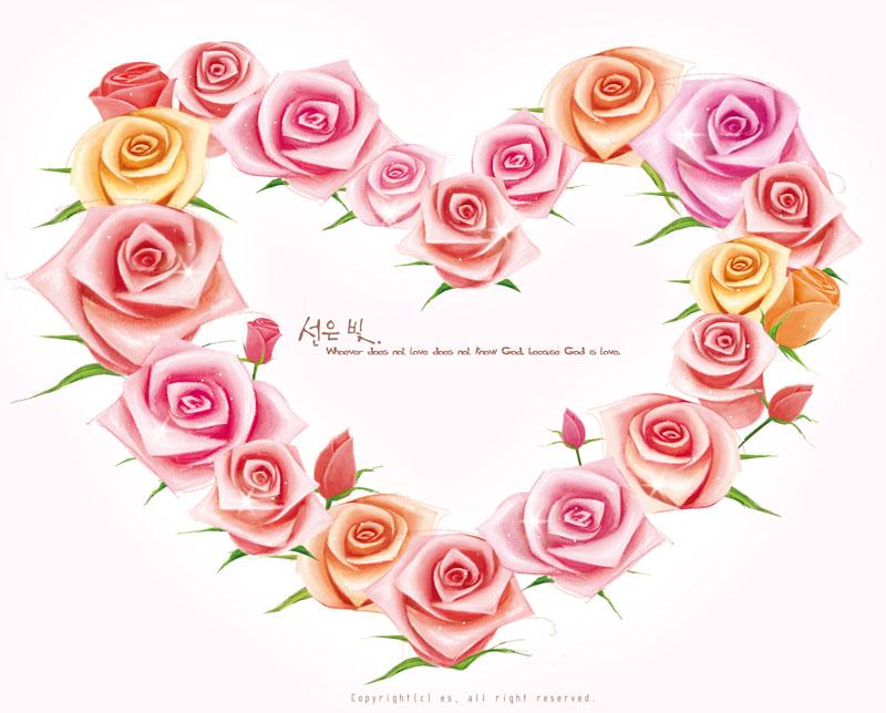 玫瑰花朵爱心边框花边边角素材手绘绘画