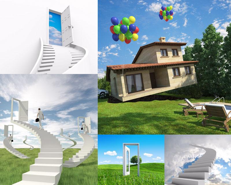 2014女士白色西服套装创意房屋与楼梯摄影高清图片- 爱图网设计图片