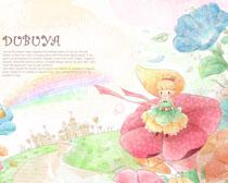 卡通花朵城堡绘画PSD素材
