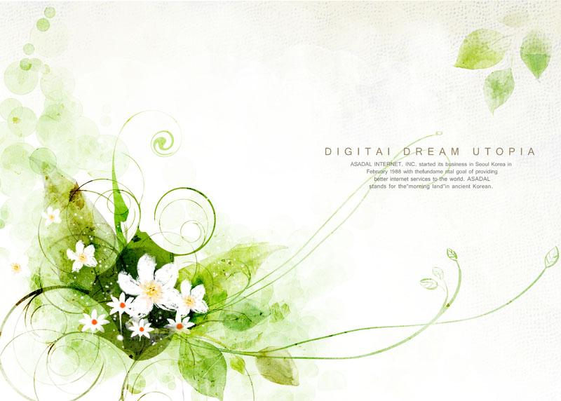 绿色花纹封面绘画psd素材