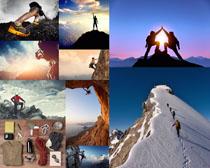 登山运动者摄影高清图片
