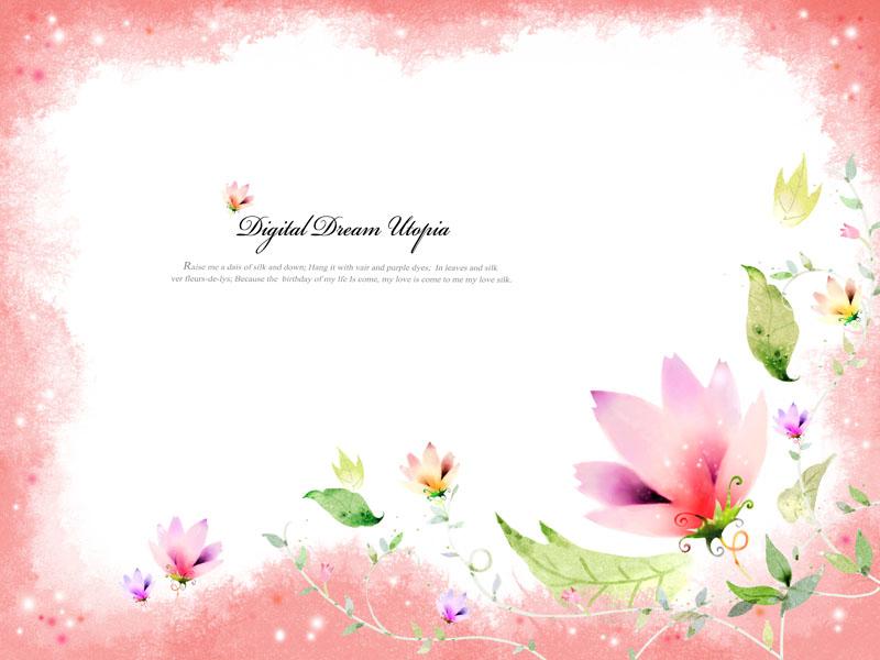 边花角绘画花朵水墨画水彩-黑白花 花朵 psd分层素材
