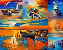 小鎮河流油畫攝影高清圖片