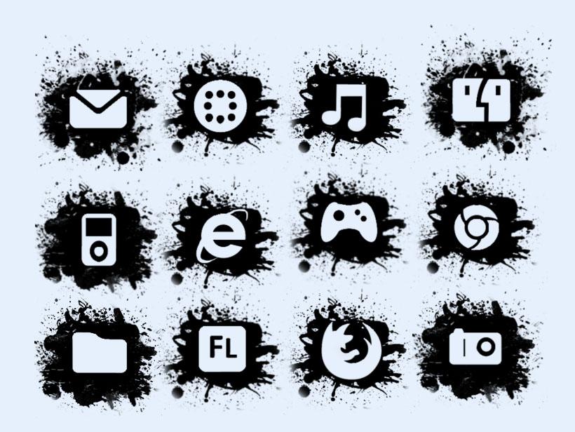 音乐 黑白风格 游戏 信息 手机系统 手机主题 非主流 png图标 png素材